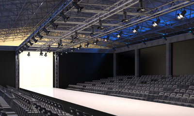 Interior of the auditorium with empty podium for fashion shows. Fashion runway before beginning of fashionable display. 3D visualization.