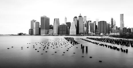 Manhattan  skyline, black and white photo, view from Brooklyn, New York, USA