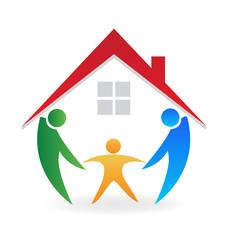 Happy family with a ne house logo vector