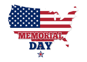 Memorial Day design. Map of the USA in the colors of the Stars and Stripe colored flag. Vector illustration isolated on white background
