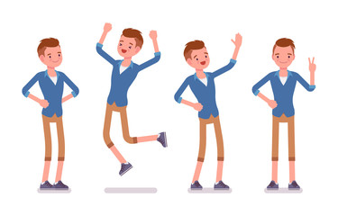 Set of male millennial, positive emotions