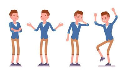 Set of male millennial, negative emotions