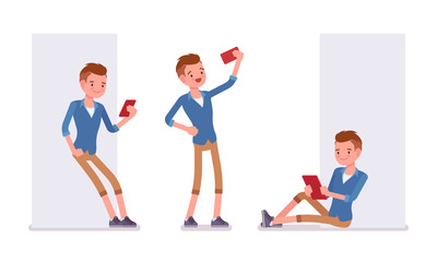 Set of male millennial with gadgets