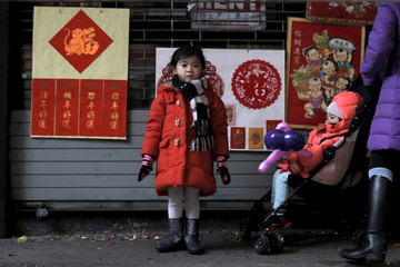 A little girl watches a lion dance during the celebration of the Chinese Lunar New Year in Manhattan's Chinatown in New York