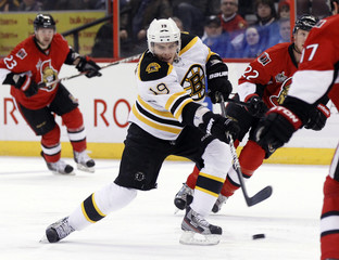 Boston Bruins' Seguin takes a shot on net during the first period of their NHL hockey game against the Ottawa Senators in Ottawa