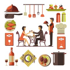 Dating man and woman in restaurant and kitchen set around