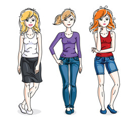 Attractive young adult girls female group standing in stylish casual clothes. Vector set of beautiful people illustrations.
