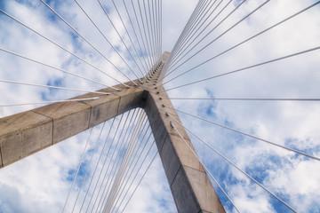 cable-stayed bridge. Leonard P. Zakim Bunker Hill Memorial Bridge, Boston, USA