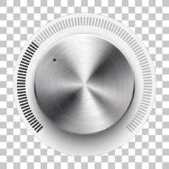 Wall Mural - Audio volume knob, technology music button template, with metal circular brushed texture, chrome, silver, steel and realistic shadow for design concepts, web, interfaces, UI, apps. Vector Illustration