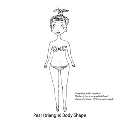 Pear or Triangle Female Body Shape Sketch. Hand Drawn Vector Illustration Isolated on a White Background.