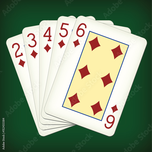 Straight Flush Of Diamonds From Two To Six Playing Cards Vector