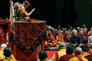 The Dalai Lama speaks during a teaching session at Radio City Music Hall in New York
