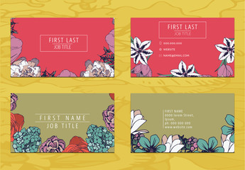 Two Floral Business Card Layouts