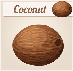 Whole coconut. Cartoon vector icon. Series of food and drink and ingredients for cooking.