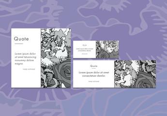 Three Gray Floral Social Media Post Templates