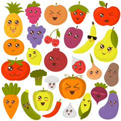 Cute vegetables and fruits vector illustration. Colorful flat style stickers.