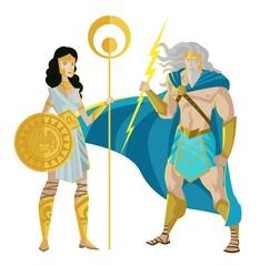 palas athena minerva and jupiter zeus god of the ray greek roman mythology god and goddess