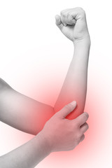 Acute pain in elbow or arm. hand massage elbow or arm isolated white, office syndrome concept