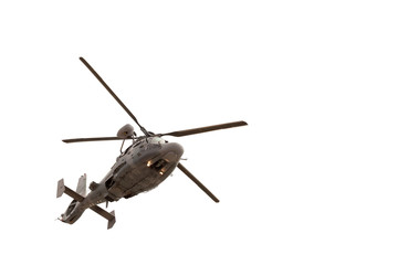 In de dag Helicopter Military helicopter in flight, isolated on white