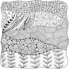Artistically ethnic abstract background. Hand-drawn, ethnic, floral, retro, doodle, vector, zentangle design element. Adult coloring book page.