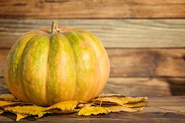 Pumpkin with autumn leaves on the wooden background