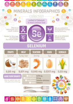 Selenium Mineral supplement rich food icons. Healthy eating flat icon set, text letter logo, isolated background. Diet Infographics chart banner poster. Table vector illustration, human health benefit