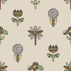 Vector seamless hand drawn pattern, decorative stylized childish flowers Doodle style, graphic illustration Ornamental cute hand drawing in brown colors Series of doodle, cartoon, sketch illustrations