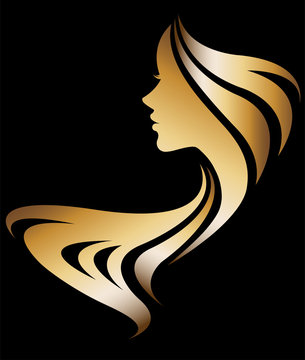 illustration vector of women silhouette icon on black background