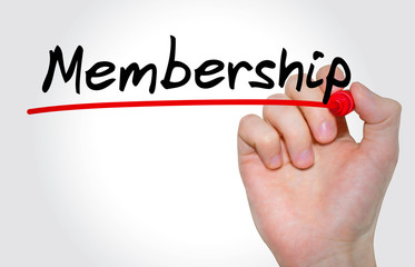 Hand writing inscription Membership with marker, concept