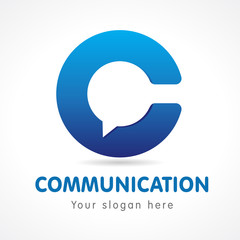 C letter communication logo. Business or educational consult, blue colored volume sign. FAQ, I.Q., contact us, computer or smartphone settings, speak icon.