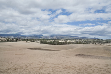 Maspalomas dunes formation, a natural reserve, view from top towards inland, Gran Canaria, Spain