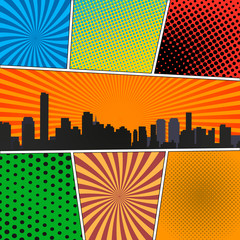 Fototapete - Comic book page template with radial backgrounds, halftone effects and city silhouette in pop-art style.