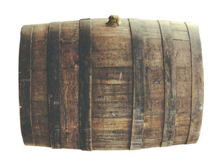 Old beer barrel isolated on white. Soft filtered image with wide possibilities of contrast adjustment