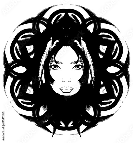 girl merged with the pattern of ink stock image and royalty free Cheapest Ink Cartridges girl merged with the pattern of ink