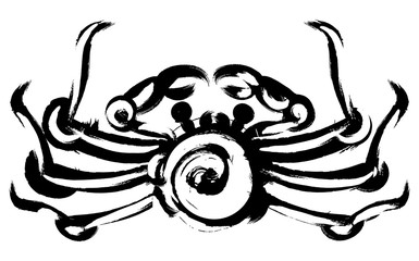 crab drawn blots, symbolizes the zodiac sign cancer