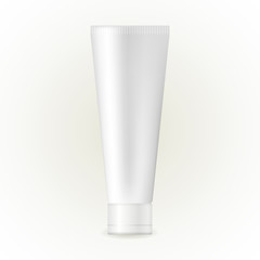 White glossy plastic tube for medicine or cosmetics - cream, gel, skin care, toothpaste. Realistic packaging mockup template.