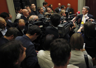 Swiss CVP faction President Schwaller speaks to the media after a CVP faction meeting in Bern