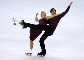 Hubbell and Donohue of the United States compete during the Ice Dance program at the ISU Bompard Trophy Figure Skating competition in Bordeaux