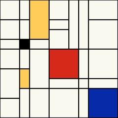 Seamless abstract mosaic pattern. Mondrian style. Vector.