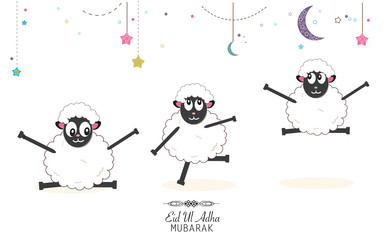 Funny sheeps. Islamic Festival of Sacrifice, Eid-Al-Adha celebration greeting card