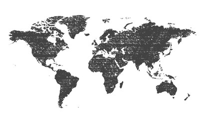 Grunge texture gray world map vector illustration