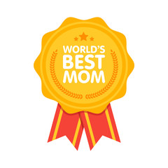 World Best Mom Badge award vector illustration
