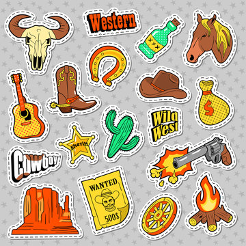 Western Elements Doodle. Wild West Stickers, Badges and Patches with Horse, Gun and Sheriff. Vector illustration
