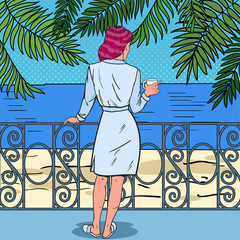 Tropical Paradise. Beautiful Woman Drinking Coffee at the Balcony of Beach Hotel. Pop Art Vector illustration