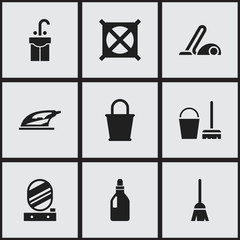 Set Of 9 Editable Hygiene Icons. Includes Symbols Such As Broomstick, Appliance, Vacuum Cleaner And More. Can Be Used For Web, Mobile, UI And Infographic Design.