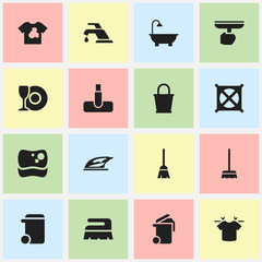 Set Of 16 Editable Dry-Cleaning Icons. Includes Symbols Such As Faucet, Clean T-Shirt, No Laundry And More. Can Be Used For Web, Mobile, UI And Infographic Design.