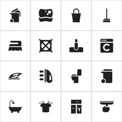Set Of 16 Editable Dry-Cleaning Icons. Includes Symbols Such As Washing Tool, Container, Restroom And More. Can Be Used For Web, Mobile, UI And Infographic Design.