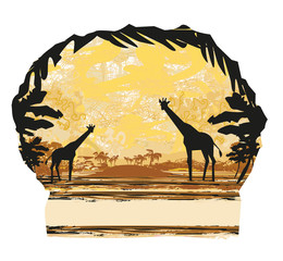 Grunge background with giraffe silhouette on abstract African fauna and flora