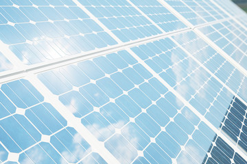 3D illustration solar panels with reflection the sunny sky. Background of photovoltaic modules for renewable energy.