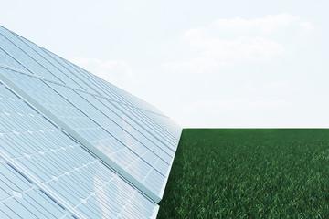 3D illustration solar panels on sky background. Alternative clean energy of the sun. Power, ecology, technology, electricity.